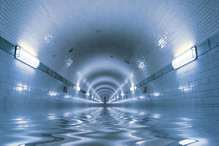 Blue tunnel with water inside. The flood.
