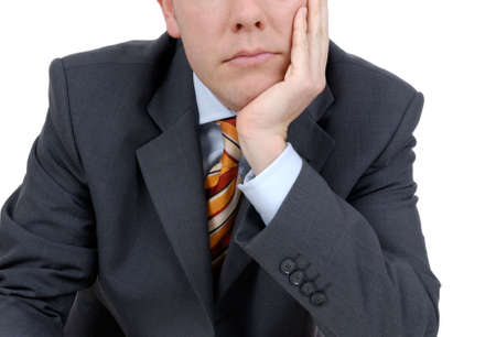 Young business man sitting in a office. Studio picture photo