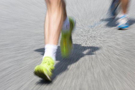 Marathon racer. Blur from the original shot 免版税图像