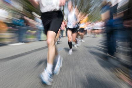 Marathon racer. Blur from the original shot Stock Photo - 3386138