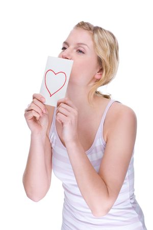 Full isolated portrait of a beautiful caucasian woman with a love letter photo
