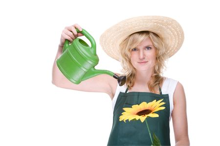 Full isolated portrait of a beautiful caucasian gardener with watering can photo