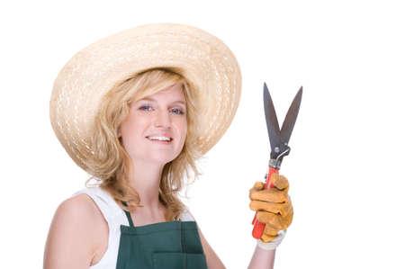 Full isolated portrait of a beautiful caucasian gardener photo