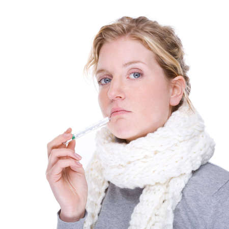 Full isolated portrait of a beautiful caucasian woman with clinical thermometer photo