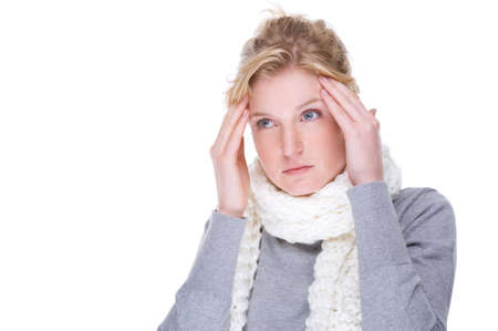 Full isolated portrait of a beautiful caucasian woman with headache photo