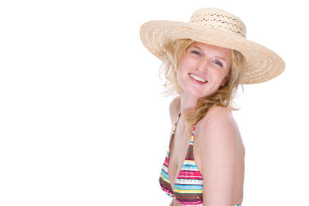 Full isolated portrait of a beautiful caucasian woman with bikini and straw hat Stock Photo - 5189254