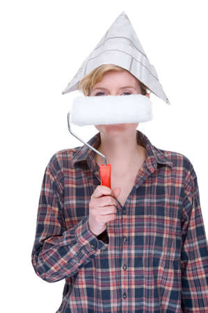workwoman: Full isolated studio picture from a young woman with a paint roller