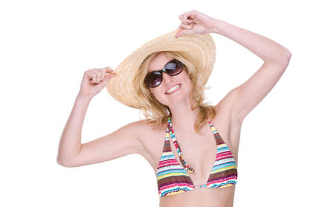 Full isolated portrait of a beautiful caucasian woman with bikini, sunglasses and straw hat Stock Photo - 5342760