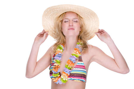 Full isolated portrait of a beautiful caucasian woman with bikini, lei and straw hat Stock Photo - 5403964