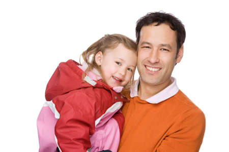 Full isolated studio picture from a young father with his daughter photo