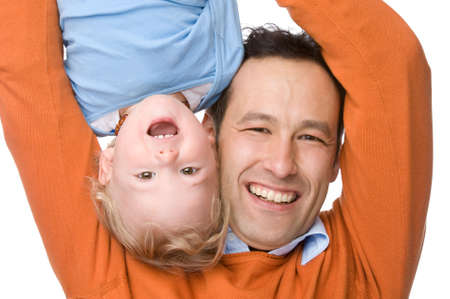 Full isolated studio picture from a young father with his son Stock Photo