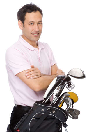 Man standing with his arms crossed near his golf kit Stock Photo - 5899339