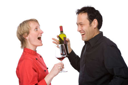 Full isolated studio picture from two people tasting some wine Stock Photo - 6069702