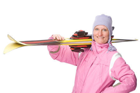 Full isolated studio picture from a young woman with a pair of ski photo
