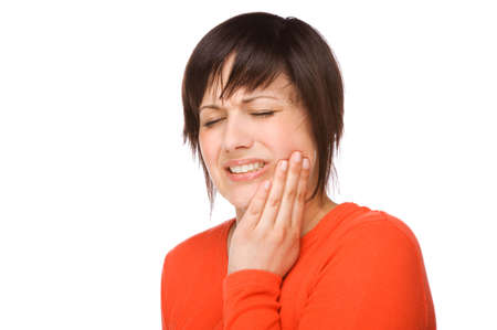 Full isolated portrait of a beautiful caucasian woman with toothache