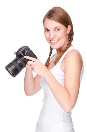 freiberufler: Vollst�ndige isolierte Studio-Bild aus einer jungen und sch�ne Frau mit Kamera