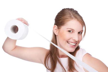 tejido: Foto de estudio aislado de una mujer joven con papel higi�nico