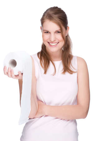 Full isolated studio picture from a young woman with toilet paper photo