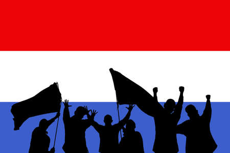 Silhouette from some sport fans in front of the flag from Netherlands Stock Photo - 6420137