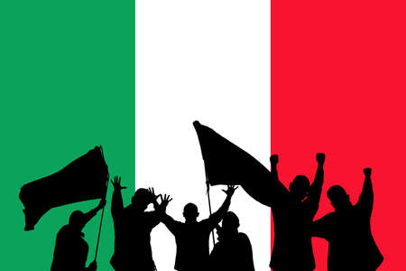 jubilate: Silhouette from some sport fans in front of the flag from italy Stock Photo