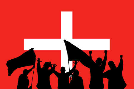 Silhouette from some sport fans in front of the flag from Switzerland  photo