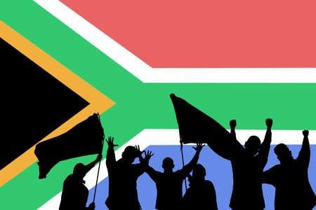 exult: Silhouette from some sport fans in front of the flag from South Africa