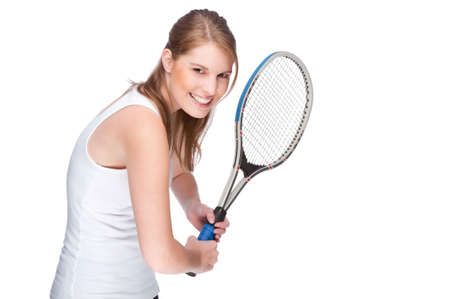 Full isolated studio picture from a young woman with tennis racket photo