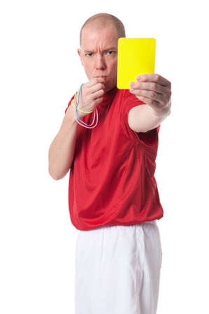 soccer referees hand with red card: Full isolated studio picture from a young referee Stock Photo