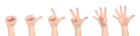 Full isolated studio picture from hands make a symbol sign Stock Photo - 6529201