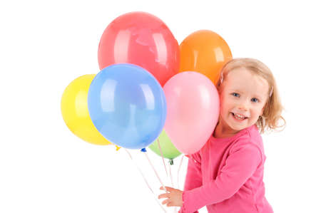 Full isolated studio picture from a little girl with balloons Фото со стока