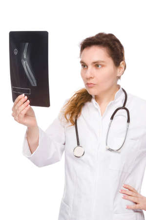 Full isolated portrait of a doctor with x-ray photo