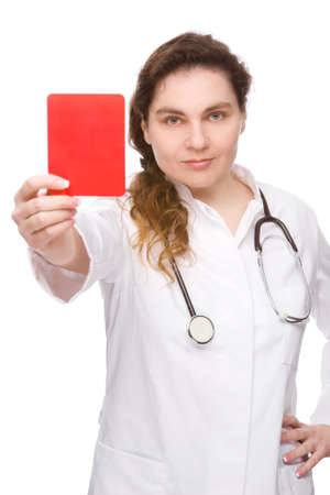 Full isolated studio picture from a doctor with red card photo