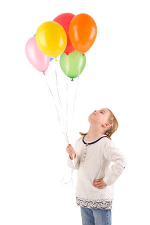 Full isolated studio picture from a little girl with balloons photo