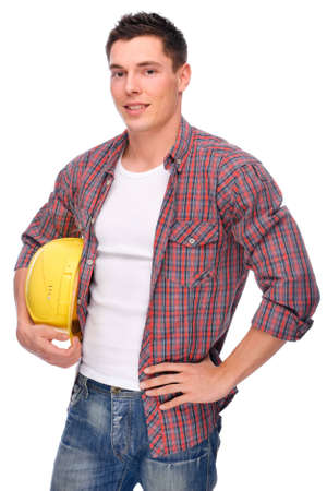 Full isolated studio picture from a young craftsman Stock Photo - 7168300