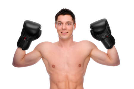 Full isolated studio picture from a young boxer photo