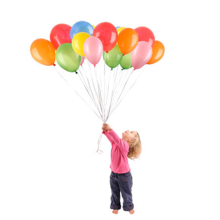 Full isolated studio picture from a little girl with balloons Stock Photo