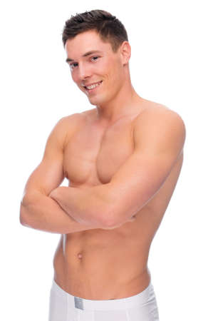 Full isolated studio picture from a young naked man with underwear Stock Photo - 7355744