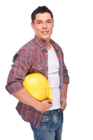 lumberman: Full isolated studio picture from a young craftsman