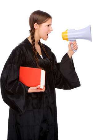 Full isolated studio picture from a young judge (lawyer) with megaphone photo