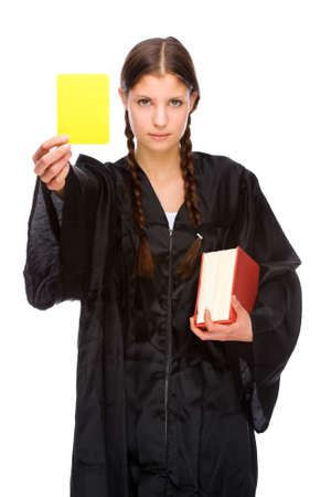 Full isolated studio picture from a young judge (lawyer) with yellow card Stock Photo - 7355738