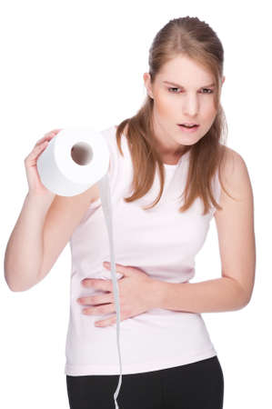 Full isolated studio picture from a young woman with toilet paper Stock Photo