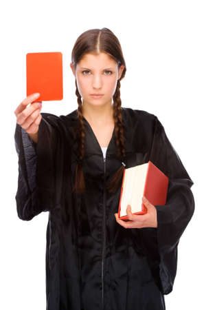 Full isolated studio picture from a young judge (lawyer) with red card photo