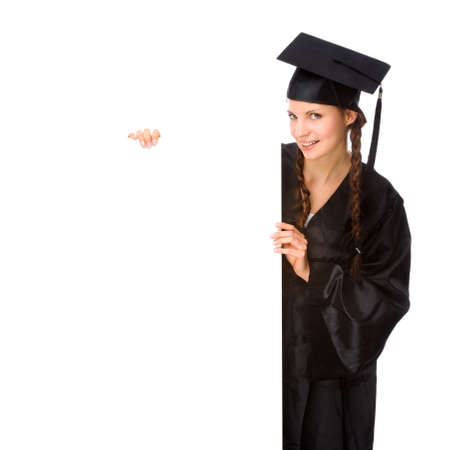 graduating: Full isolated studio picture from a young graduation woman Stock Photo