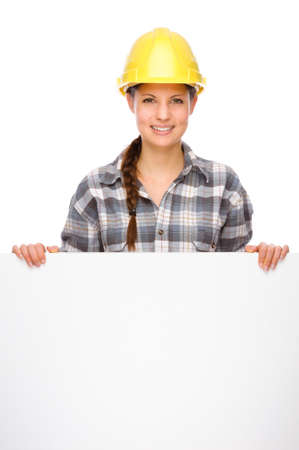 tradesmen: Full isolated studio picture from a young craftswoman