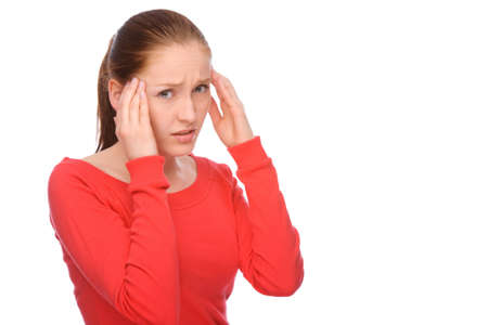 Full isolated portrait of a caucasian woman with headache Stock Photo - 7650515