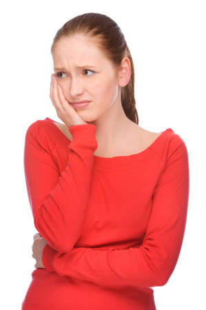 Full isolated studio picture from a young woman with toothache Stock Photo - 7650277