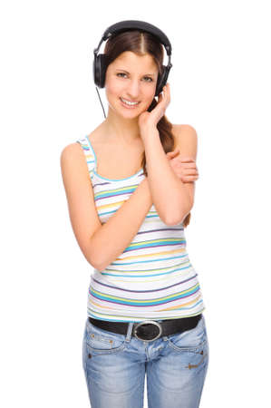 Full isolated portrait of a beautiful caucasian woman listen to the music photo