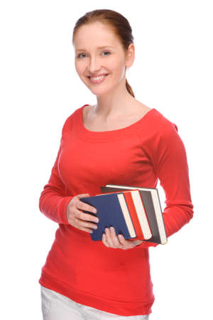 textbooks: Full isolated portrait of a beautiful and happy young student