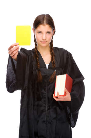 Full isolated studio picture from a young judge (lawyer) with yellow card photo