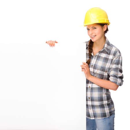 construction safety: Full isolated studio picture from a young craftswoman